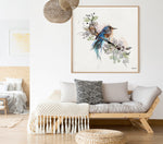 A bluebird framed painting, hanged above sofa