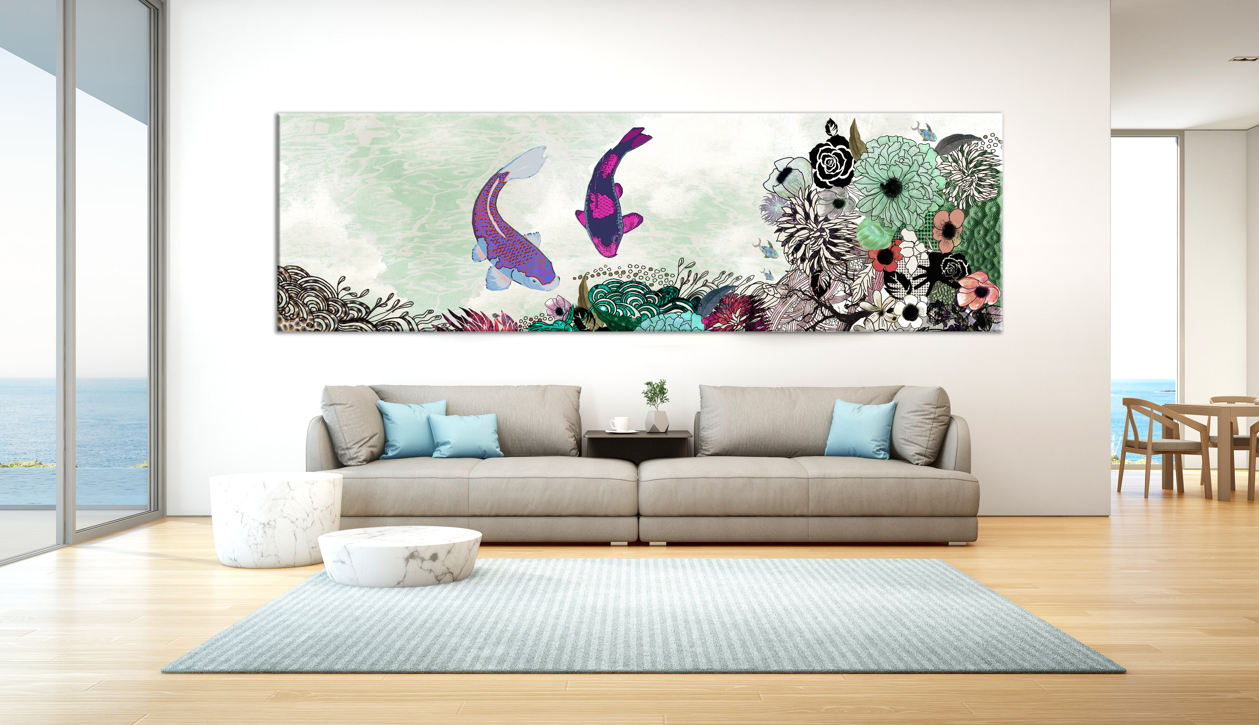 A koi fish painting with colors of green and purple, above a large gray sofa