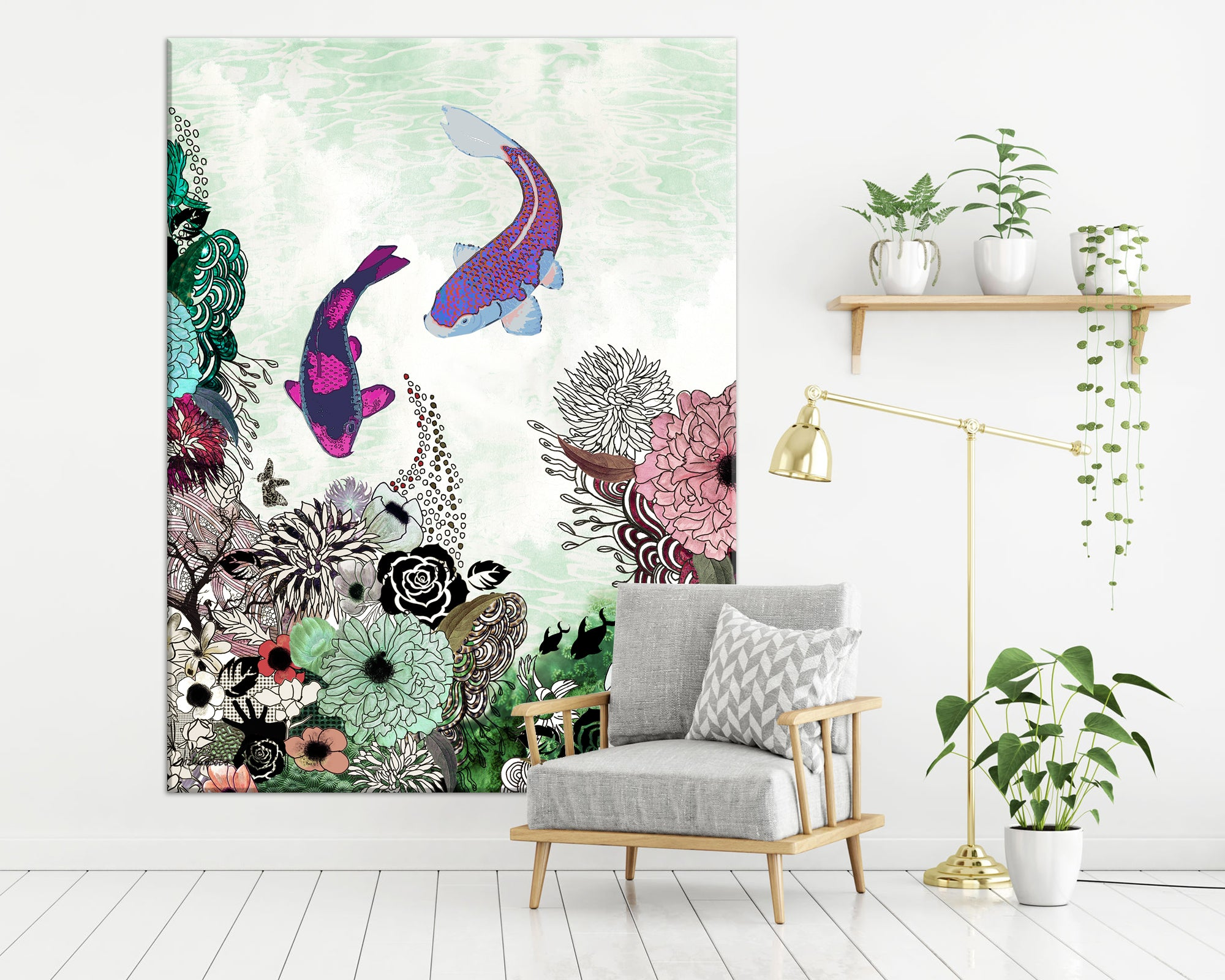A large boho art of colorful koi fish painting, hanged on a white space