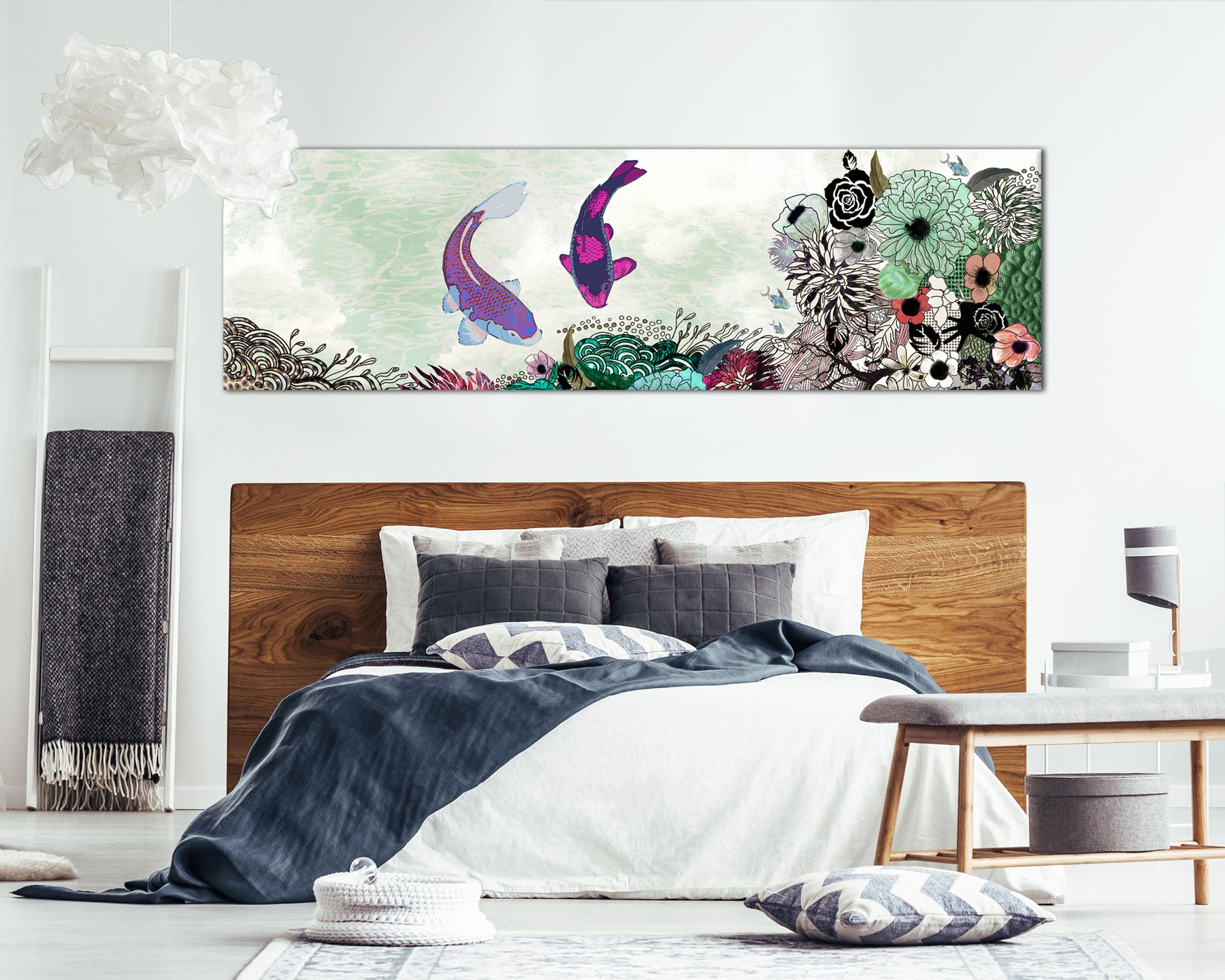 Panoramic painting of colorful koi fish and flowers, hanged above a bedroom bed