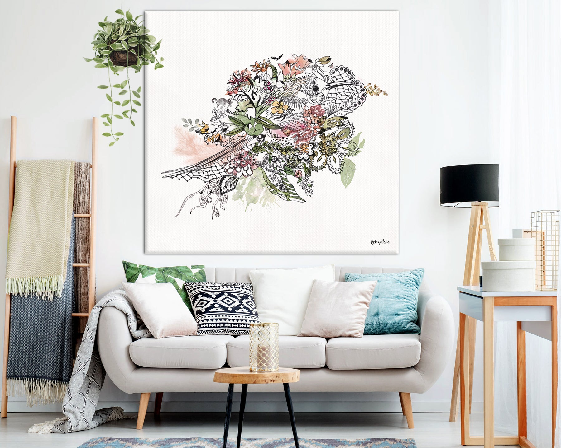 large watercolor bird painting ion living room wall