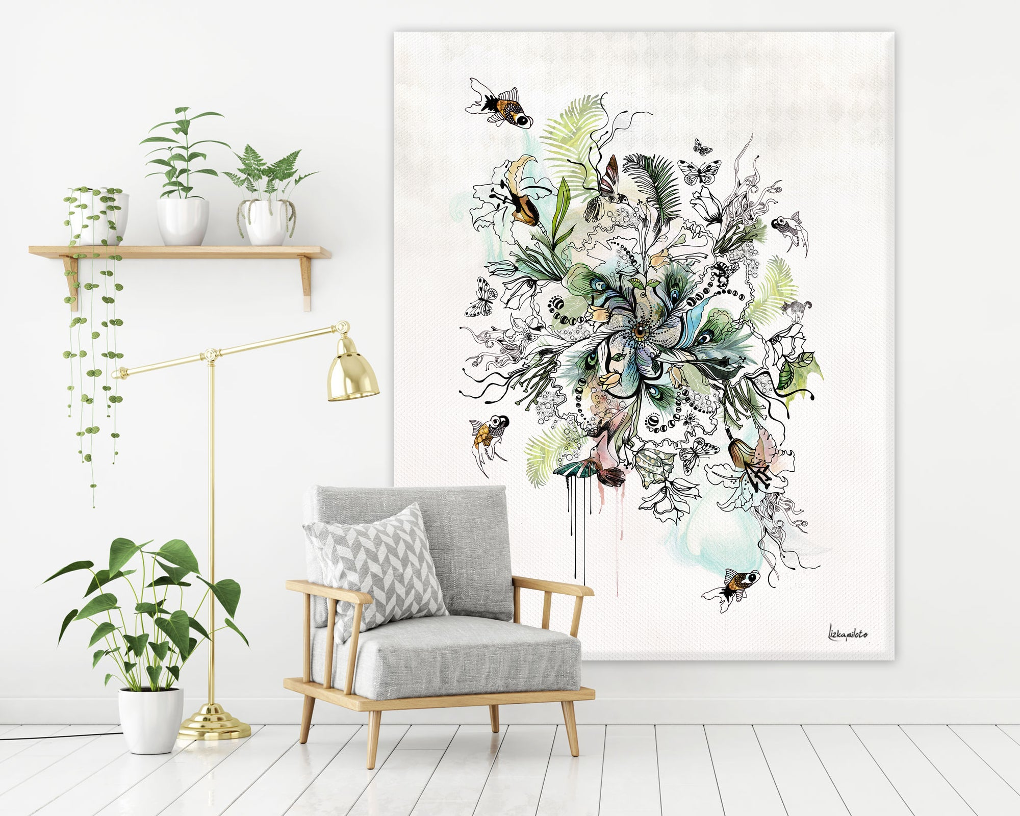 Modern mandala canvas art with turquoise and black colors, hanged on a white wall, above gray couch