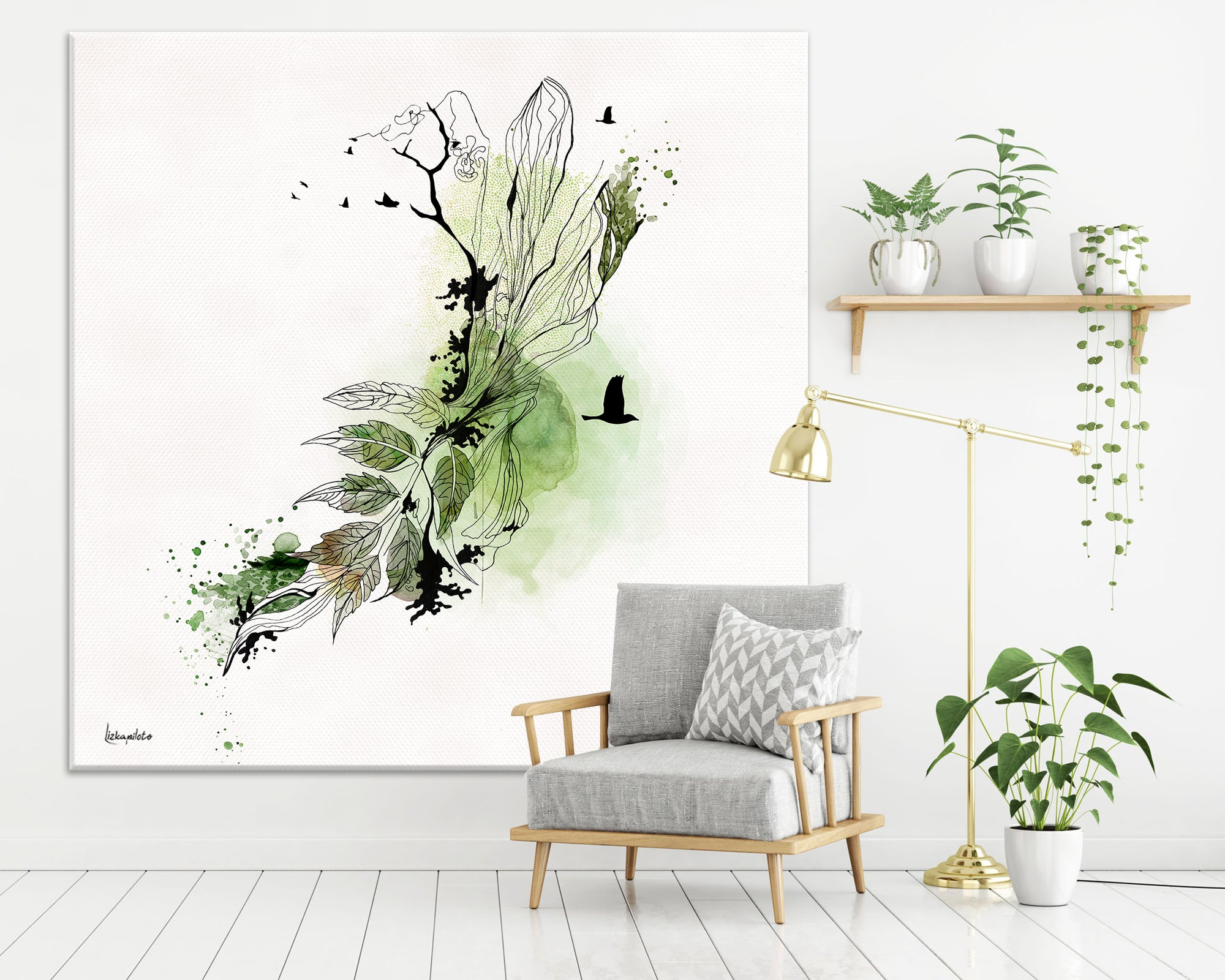 Green abstract painting on a large canvas, hanged on a white space