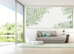 panoramic canvas of abstract tree painting, hanged on a modern space, above gray sofa