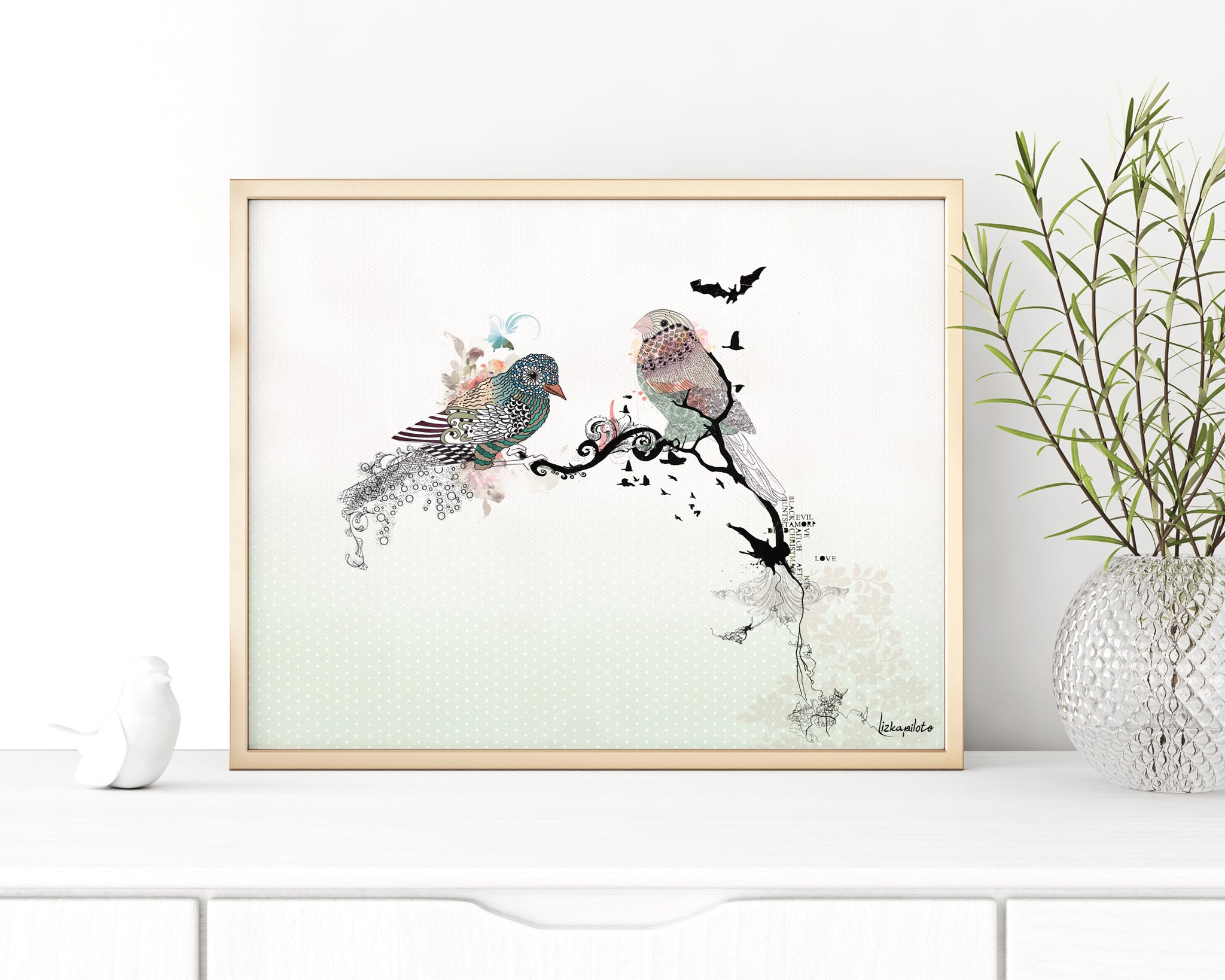 black ink and watercolor birds painting, in a gold frame
