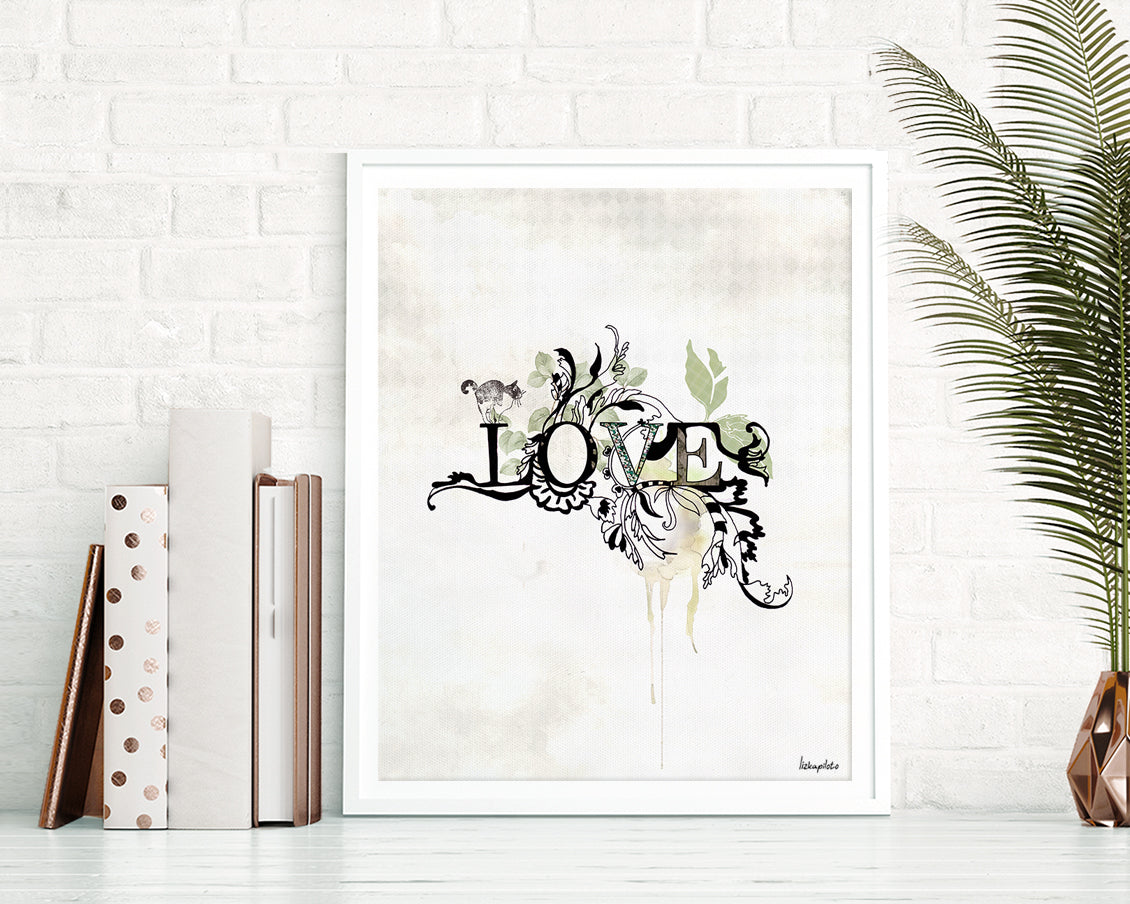 Love typographic wall art, black ink and green leaves around