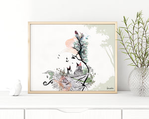 birds watercolor painting in a gold frame