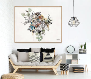 watercolor owl art, framed and hanged above sofa