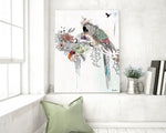 Parrot illustration of a colorful parrot standing on a branch with flowers and leaves