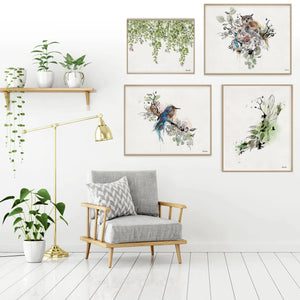 Gallery Wall Set of Birds Painting and Watercolor Leaf Painting