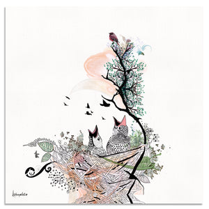 bird artwork of baby birds in nest - Liz Kapiloto Art & Design
