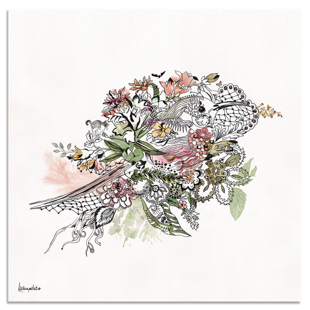 Floral Bird Art - Liz Kapiloto Art & Design