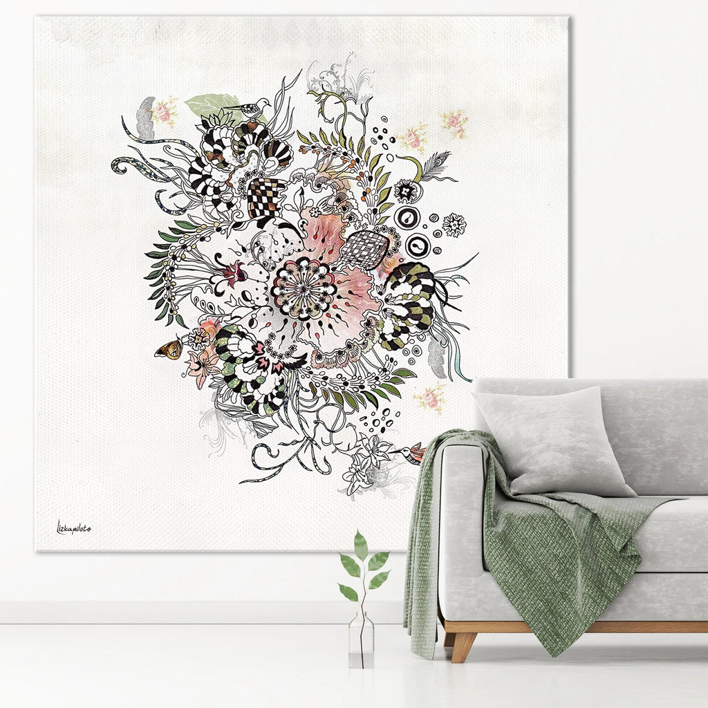 Large boho art on a white wall - Liz Kapiloto Art & Design