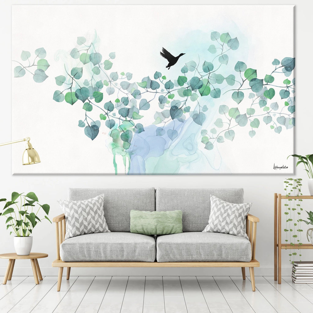 Turquoise watercolor painting of leaves and black bird - Liz Kapiloto Art & Design
