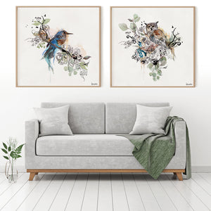 2 square Painting on Canvas above Gray Sofa - Watercolor Paintings of birds