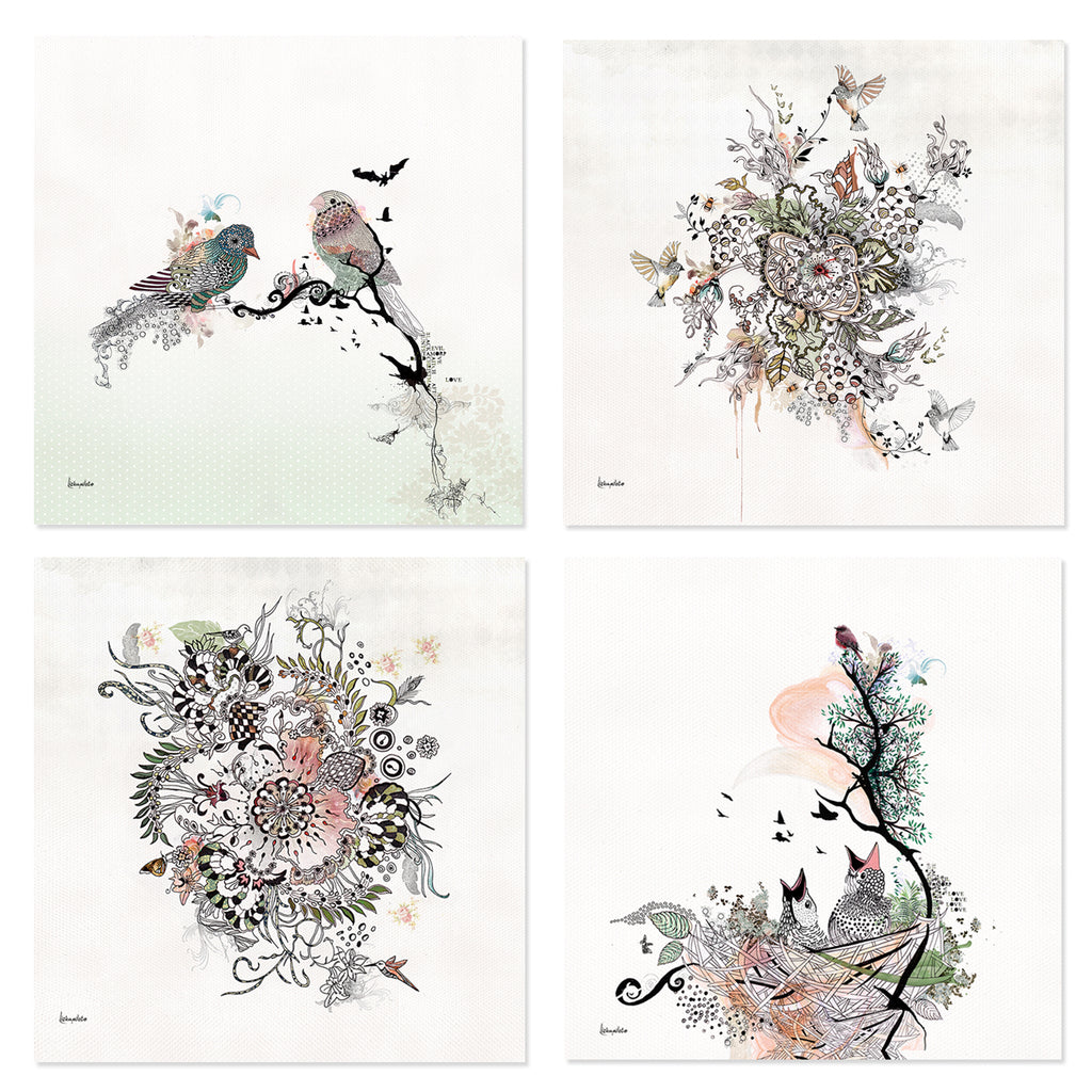 Set of 4 Prints - Birds and Abstract Paintings