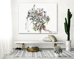 large colorful zebra wall art on a white wall