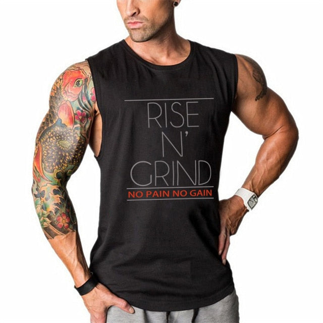 Rise N' Grind - Men's Bodybuilding Gym Workout Tank Top