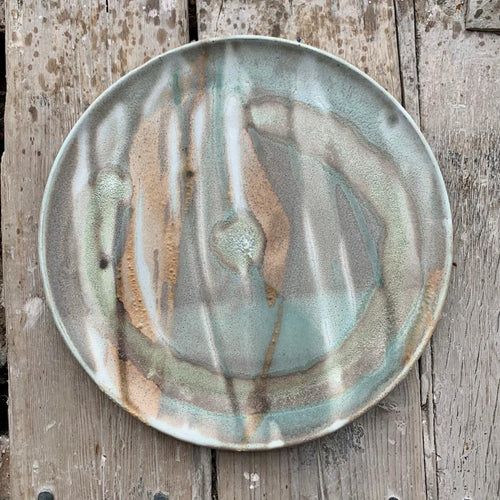 Plate, blue & sand striped glaze