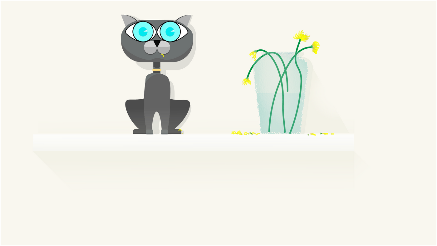 O'Brien the Cat, a peaceful cat that does naughty things behind your back. Eating flowers. Illustration of Obrien eating flowers in a vase on a shelf.