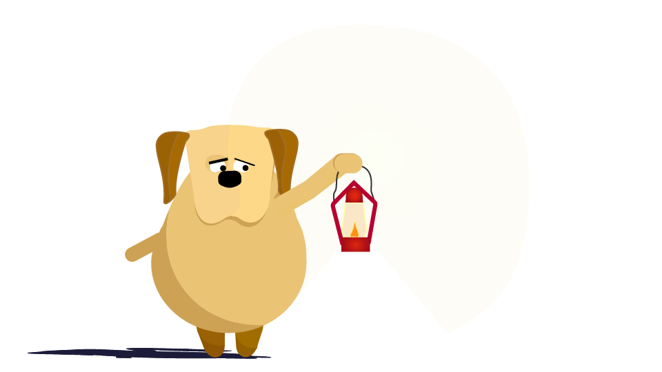 Illustration of Jittery Chip Dog & Puppy holding a lantern to depict him being scared of everything, from dark to random noises & strangers.