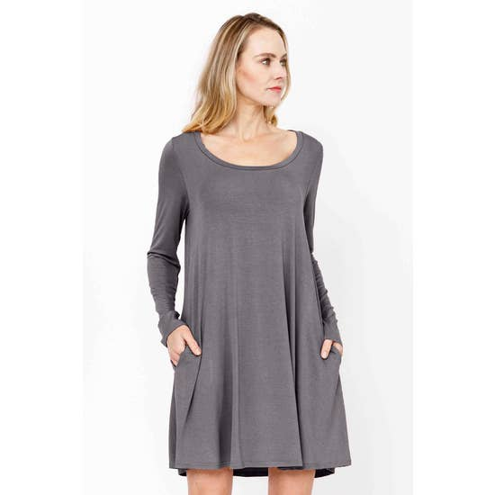 ADULT LONG SLEEVE DRESS - GREY