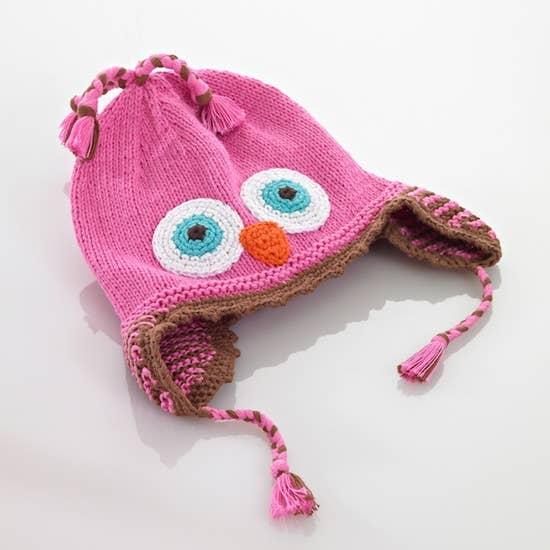 KNIT HAT - PINK OWL