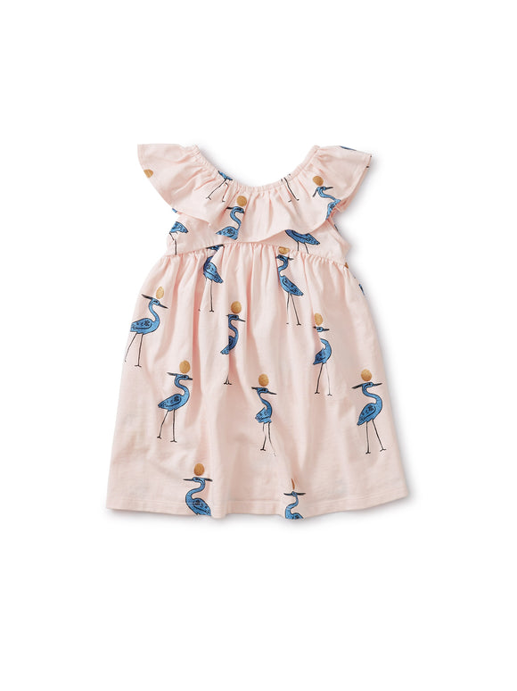 RUFFLE NECK DRESS - CRANES
