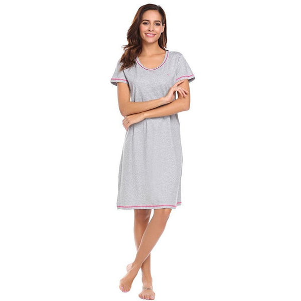Women O-Neck Solid Short Sleeve Nightdress