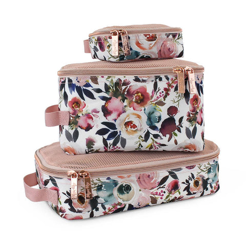 Blush Floral Travel Diaper Bag Packing Cubes - Bluebonnet Beautique
