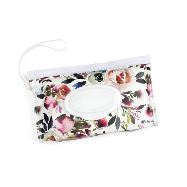 Blush Floral Take and Travel™ Pouch Reusable Wipes Case