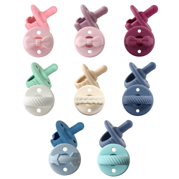 Toast + Buttercream Braids- Sweetie Soother™ Pacifier Sets (2-pack) - Bluebonnet Beautique
