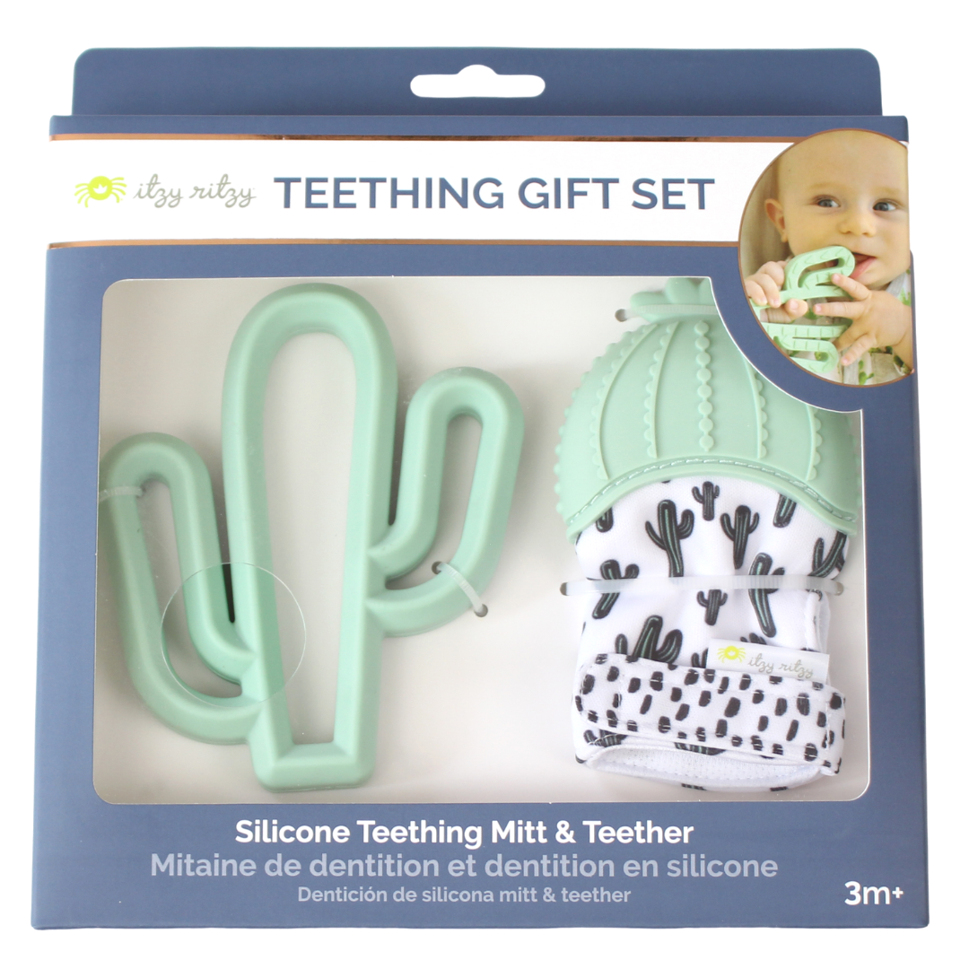 Cactus Teething Mitt & Teether Gift Set - Bluebonnet Beautique