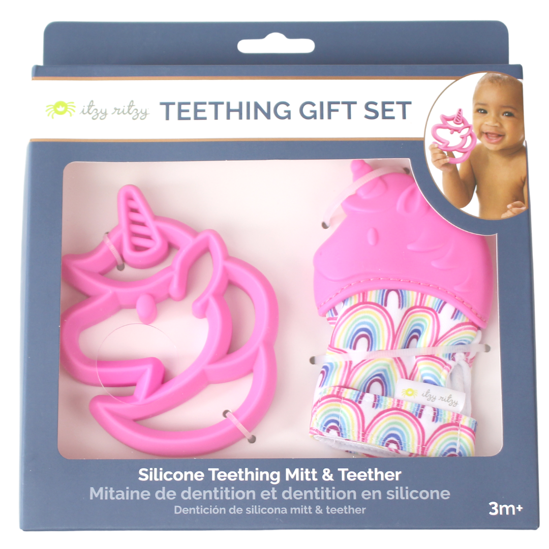 Unicorn Teething Mitt & Teether Gift Set - Bluebonnet Beautique