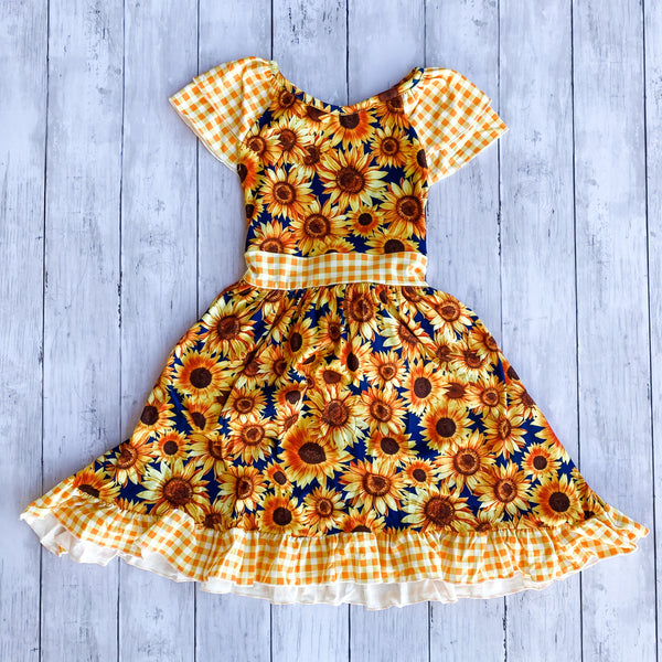 Sunflower Dress- 2XL 6-7Y - Bluebonnet Beautique