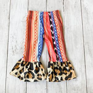 Serape Leopard Bell Bottoms- 0-3M - Bluebonnet Beautique