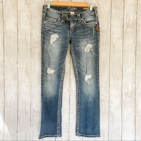 Silver Tuesday Crop Distressed Denim Jeans- Size26