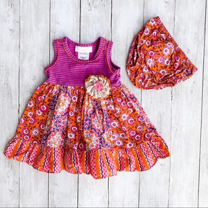 Bonnie Baby Floral 2 Piece Dress Set- 12M - Bluebonnet Beautique