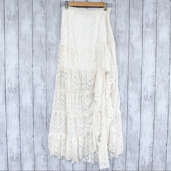 Free People Chevron Tiered Maxi Skirt- Size X-Small - Bluebonnet Beautique