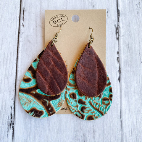 Bear Creek Leather Earrings- Double Layer Turquoise