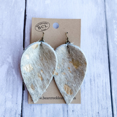 Bear Creek Leather Earrings- Gold Acid Wash