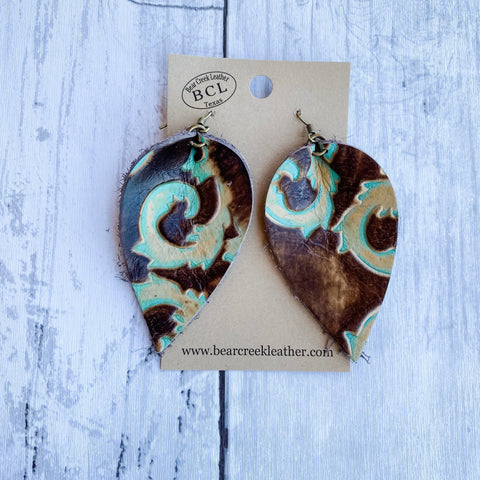 Bear Creek Leather Earrings- King Turquoise