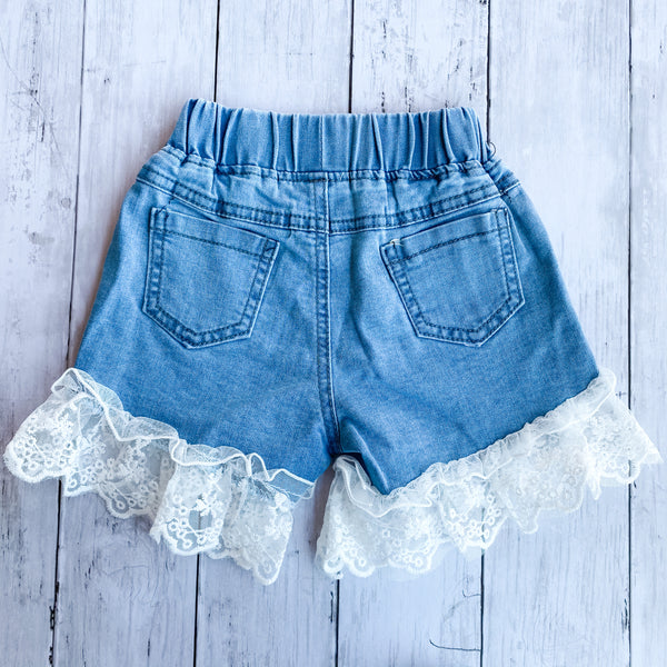 Girls Denim Lace Shorts- Multiple Sizes