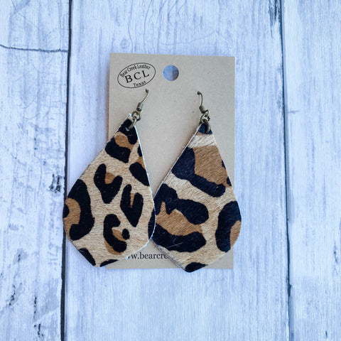 Bear Creek Leather Earrings- Leopard