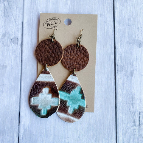 Bear Creek Leather Earrings- Double Layer Navajo Turquoise