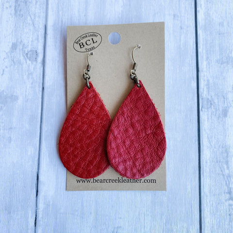 Bear Creek Leather Earrings- Pebbled Red