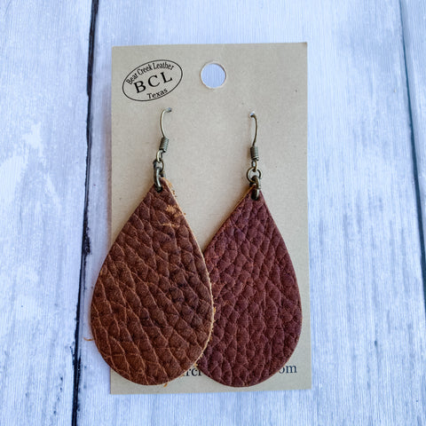 Bear Creek Leather Earrings- Dark Pebbled Brown