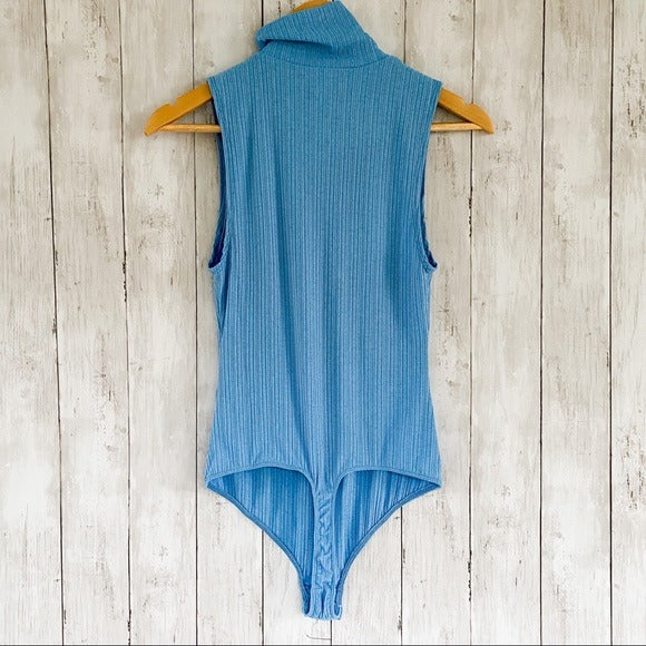 Free People Take On The Turtle Bodysuit Blue Lake- Size Small - Bluebonnet Beautique