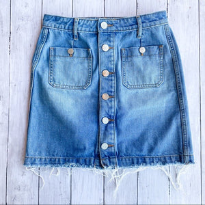 Loft Button Down Denim Jean Skirt- Size 00