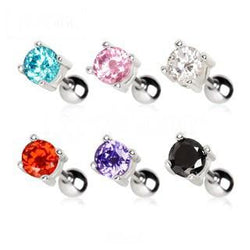 316L Surgical Steel Prong Set Round CZ Cartilage Earrings
